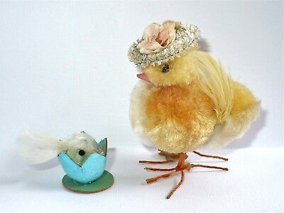 Vintage Easter Spring Chick Chenille W/hat Wire Feet & Hatchling