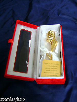 "MOTHERS DAY GIFT Natural Rose 6"" Dipped in 24K Gold in White Satin & Velvet Box"