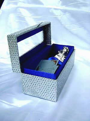 6 Inch Silver Dipped Real Rose in a Silver Egyptian Casket in Blue Satin Back