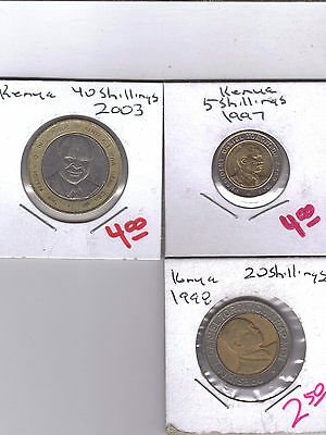 From Show Inv. - 3 BI-METAL COINS from KENYA (3 DENOMINATIONS)