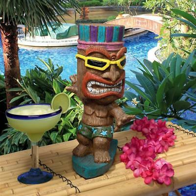 "Kahuna Tiki Surfer Dude Design Toscano Exclusive Hand Painted 13½"" Statue"