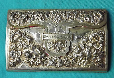 ANTIQUE & BEAUTIFUL EUROPEAN STERLING SILVER,DANCE CARD CARNET WITH PENCIL 1800s