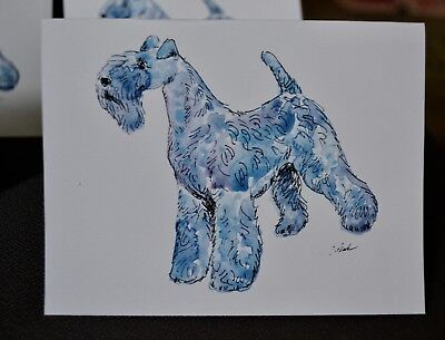 Kerry Blue terrier.Post cards made from my original watercolor.Set of 4 .LOOK!