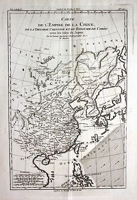ca. 1780 China Korea Taiwan Japan Kupferstich Karte map engraving Bonne