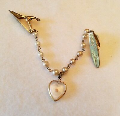 """Unbranded Goldtone Etched Faux Pearl Bead & Translucent Heart Scarf Clasp 5"""""""