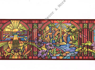 Colorful Floral Bird Sun Ray Window Stained Glass Deep Red Trim Wallpaper Border