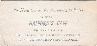 Rare Old Business Card Advertisement Halford's Cafe Clear Lake Iowa Perkins Milk