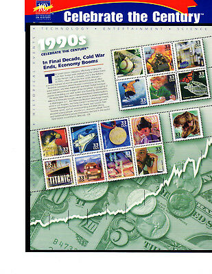 SCOTT # 3191  Celebrate the Century 1990's Issue U.S. Stamps MNH - Sheet of 15