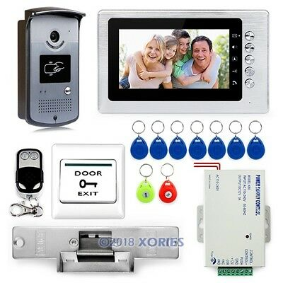"""7"""" Wired Video Door Phone System 1V1 Access Control RFID Keyfobs Unlock Remote"""