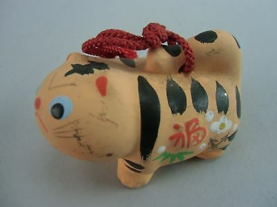 DR169 Japanese Dorei Clay Bell Pottery Tiger Chinese Zodiac Hand made Vtg Orange