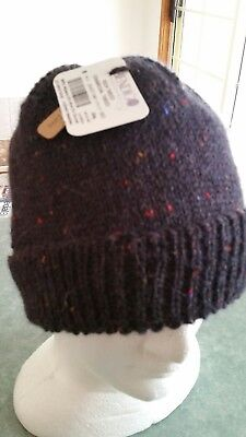 Hand Knitted Alpaca and Wool Mens Beanie  Charcoal Tweed