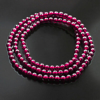 105.8Ct 100% Natural Purple Garnet Rhodolite Round Bead Bracelet Necklace CGXz54