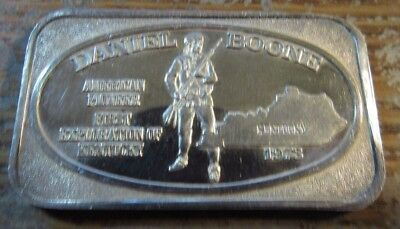 1973 Daniel Boone First Exploration of Kentucky 1 Troy Oz. .999 Fine Silver Bar