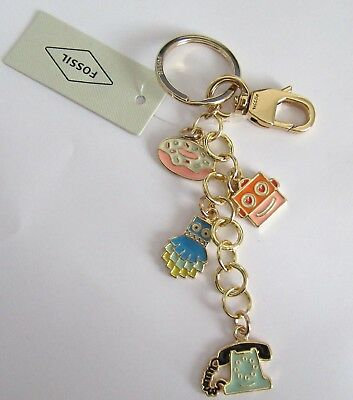 Fossil  Icons Key Fob/Ring- charms donut telephone monster robot face gold tone