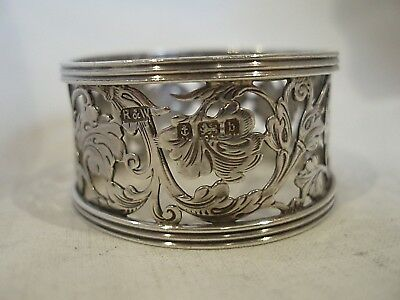Pierced & Engraved Napkin Ring Sterling Silver Birmingham 1901