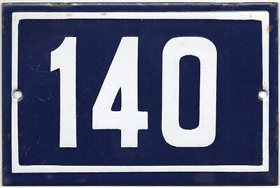 Old blue French house number 140 door gate plate plaque enamel steel metal sign