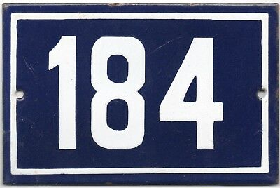 Old blue French house number 184 door gate plate plaque enamel steel metal sign