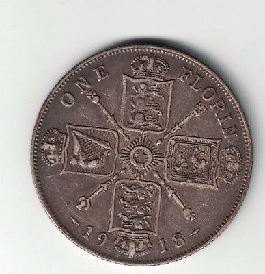 Great Britain 1918 Florin Two Shillings George V Sterling Silver Coin Toned