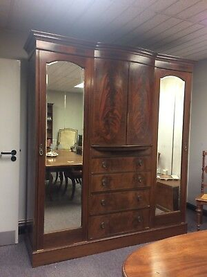Antique Edwardian Mahogany Wardrobe Compactum with a set of drawers & 2 Mirrors