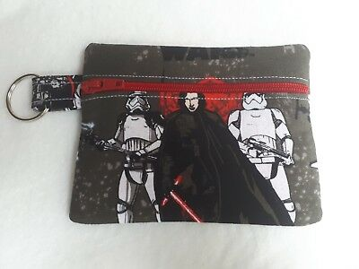 Star Wars Fabric  Coin Purse/Earphone (Earbud) Pouch red star lining school