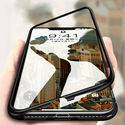 For iPhone X XS Max XR Flip Magnetic Adsorption Metal Case Tempered Glass Cover
