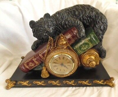 Large Mantle Clock with Playful Cat and Books