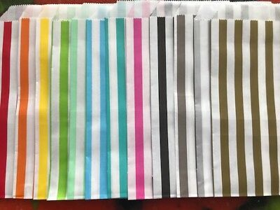Striped-Paper-Bags-Sweet-Sweets-Sweetie-Candy-Colour--Party-Wedding-Uk Seller