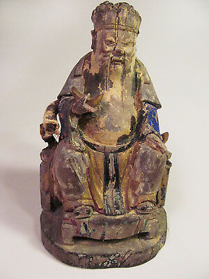 Antique Ching Dynasty Polychrome Wood Statue Figure of Royalty On Throne