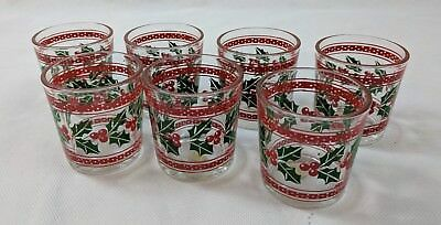 "Glass Christmas Holly Votive Candle Holders 2"" Tall Holiday Decoration Lot of 7"
