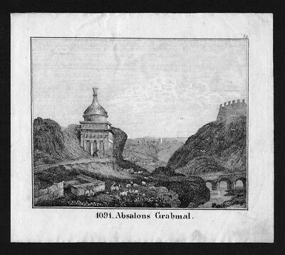 1830 - Jerusalem tomb of Absalom Israel Lithographie Lithograph