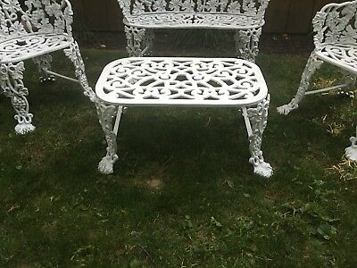 White Antique Grapevine Cast iron Garden Set. A Bench, Two Chairs, And Table.