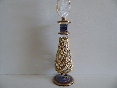 Egyptian Perfume Oil Bottle, Gold/Clear/Blue, 13cm tall incl. Stopper, New