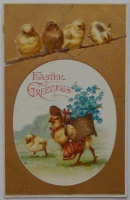 Antique Postcard Embossed Easter Greetings Dressed Chick Forget-Me-Nots