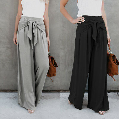 afce10a4bbd Womens Ladies Palazzo Plain Flared Wide Leg Pants leggings Baggy Loose  Trousers