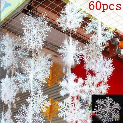 60pcs Classic White Snowflake Ornaments Christmas Xmas Tree Hanging Decorations