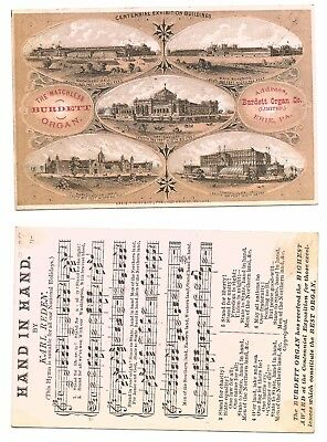 1876 International Expo Advertising Card - The Matchless Burdett Organ Music #32