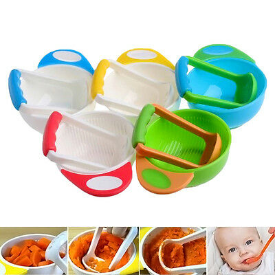 Baby Infant Manual Food Fruit Vegetable Grinder Bowl Mill Blender Masher Home IT