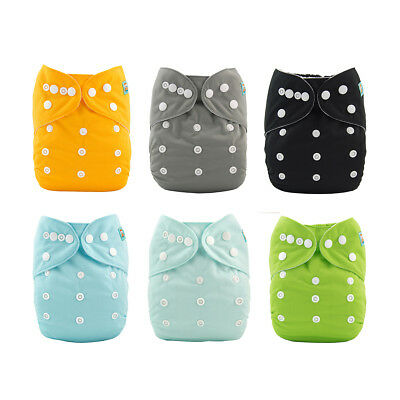 6 ALVABABY Best Reusable Nappies Cloth Diapers One Size Washable Pocket 6Inserts