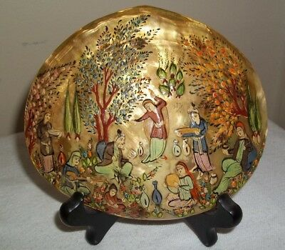 """Colorful Vintage Persian Painting on Abalone Shell Raised Enamel Nicely Done! 6"""""""