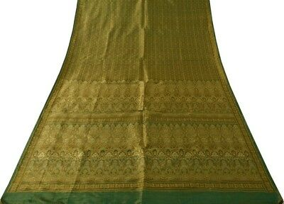 Vintage Sari 100% Pure Silk Woven SILK Brocade Antique Banarasi Saree Fabric