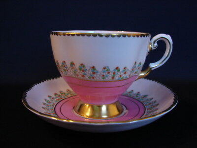 Tuscan England Pink Cup & Saucer with Gold Band & Raised Enamel Dots
