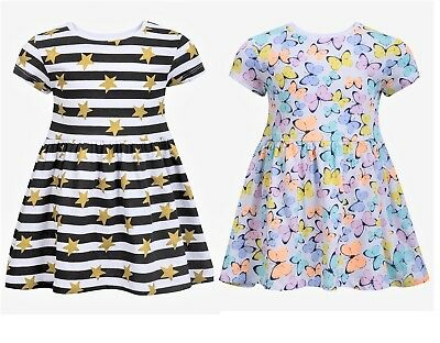 Girls Baby Toddler Dresses Stripes Butterfly Kids Cotton Skater Dress 9m to 3yrs