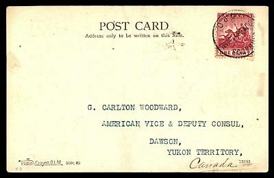 American Consulate Jan 6 1906 Single Franked Postcard To Yukon Canada