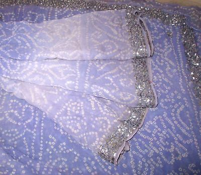 Georgette Antique Vintage Sari Saree Fabric REUSE 4y Lavendar #,AQXU