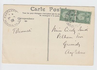 Carthage 1908 Postcard to Grimsby Angleterre CARTHAGE L'Amphitheatre