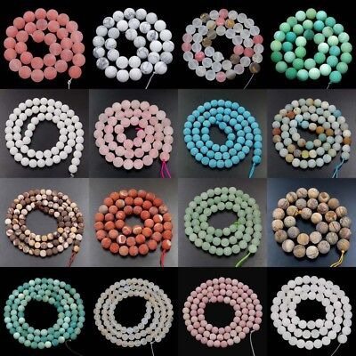 "Wholesale 8mm 15"" Natural Matte Gemstone Round Loose Spacer Beads Findings 38cm"