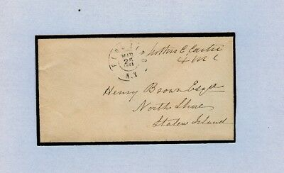 1861 FLUSHING NY Mourning Cover Congressional Free Frank of Luther Cullen Carter