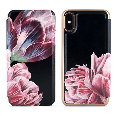 Ted Baker® COLIN Luxury Floral Mirror Folio Case Cover FOR iPhone X / XS – Black