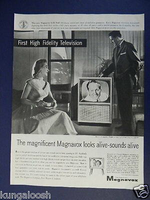 1956 Magnavox First High Fidelity Television Set Sales Ad With Art Linkletter