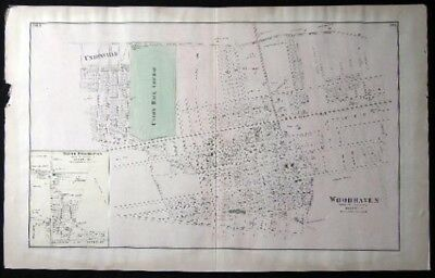 1873 Map Woodhaven Freeport Inglewood + Original From Beers Atlas Long Island Ny
